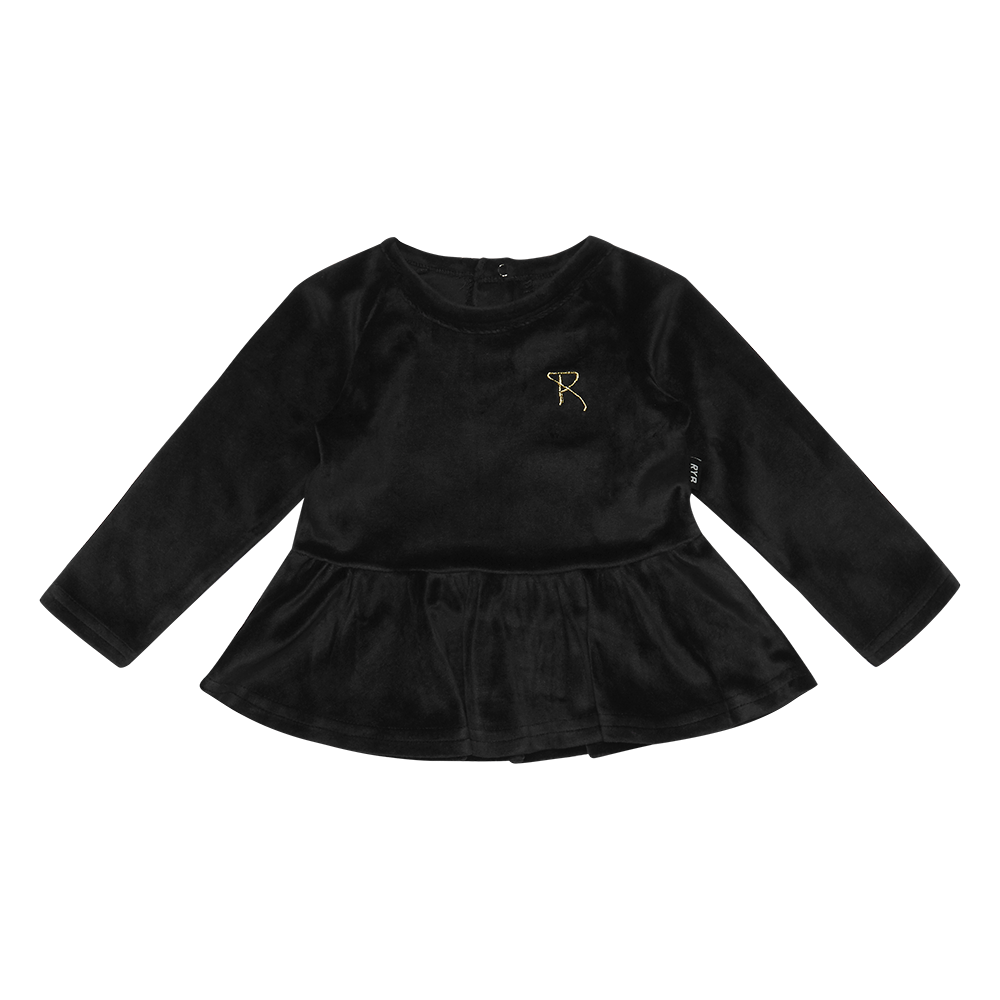 Rock Your Baby Velvet LS Baby T-Shirt - Black