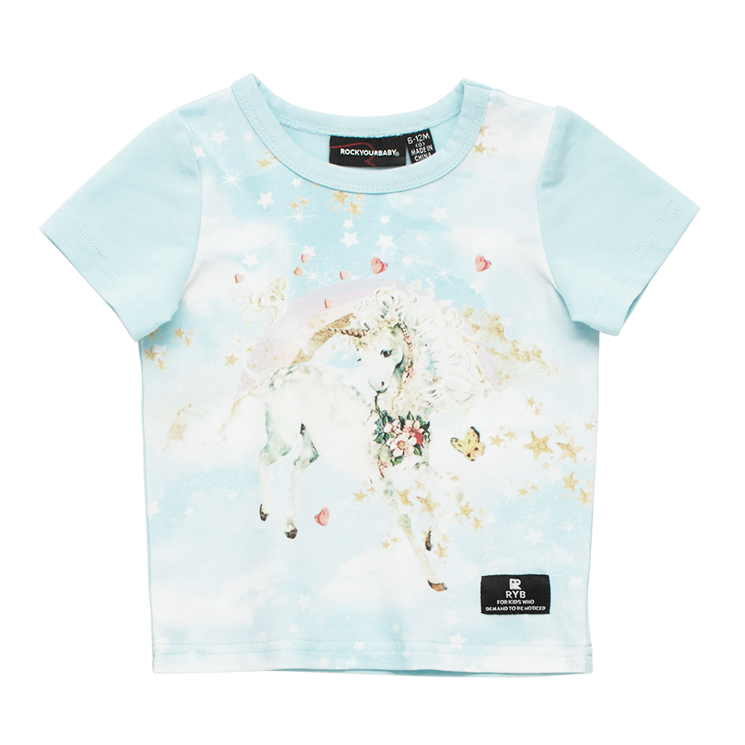 Rock Your Baby Unicorn Clouds SS Baby T-Shirt