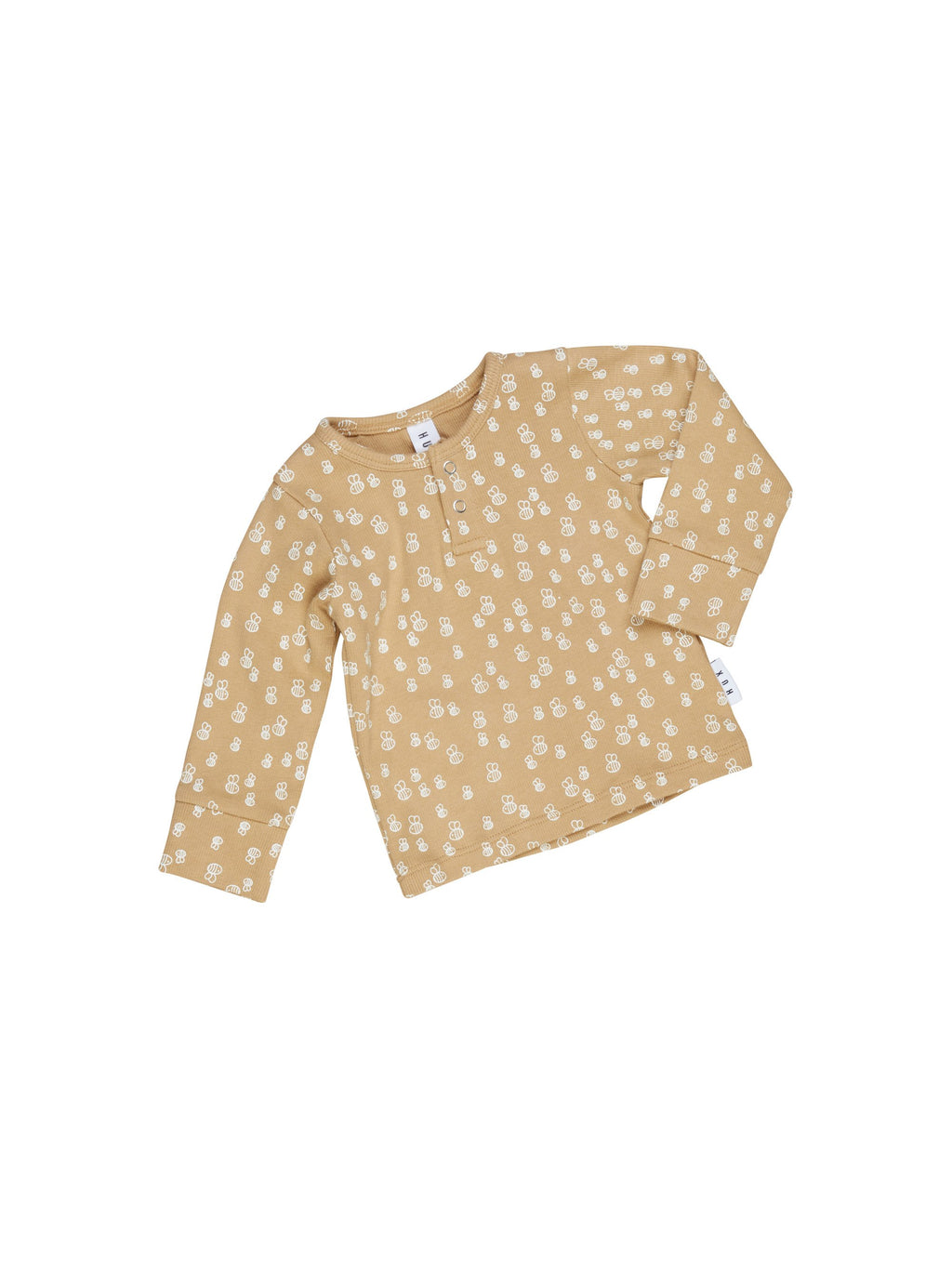 Huxbaby Honey Bee Rib Henley Top - HB1949