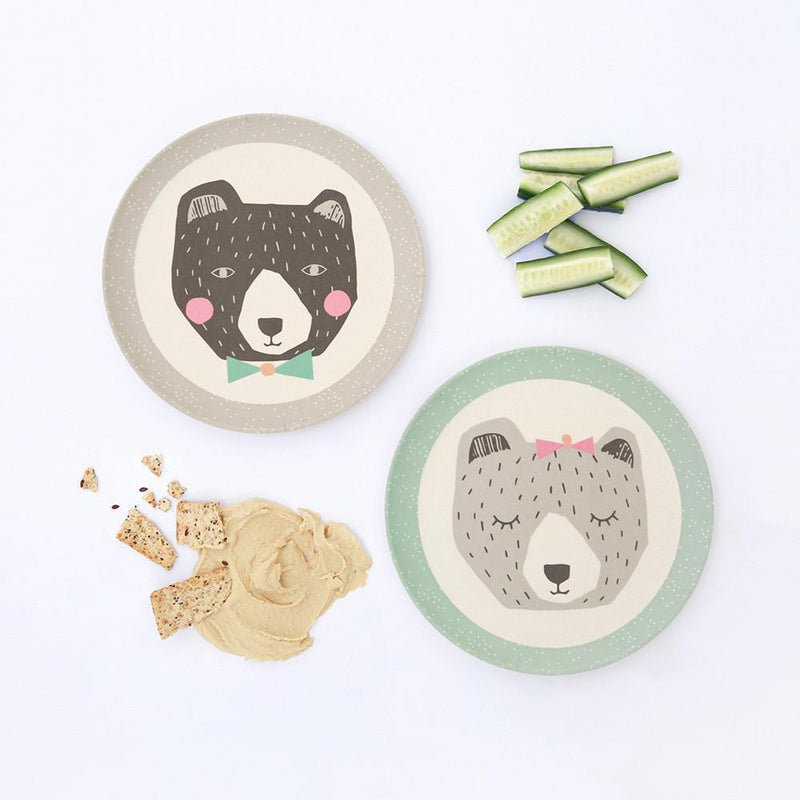 Love Mae Bamboo Plates 4 Pack- Mama and Papa