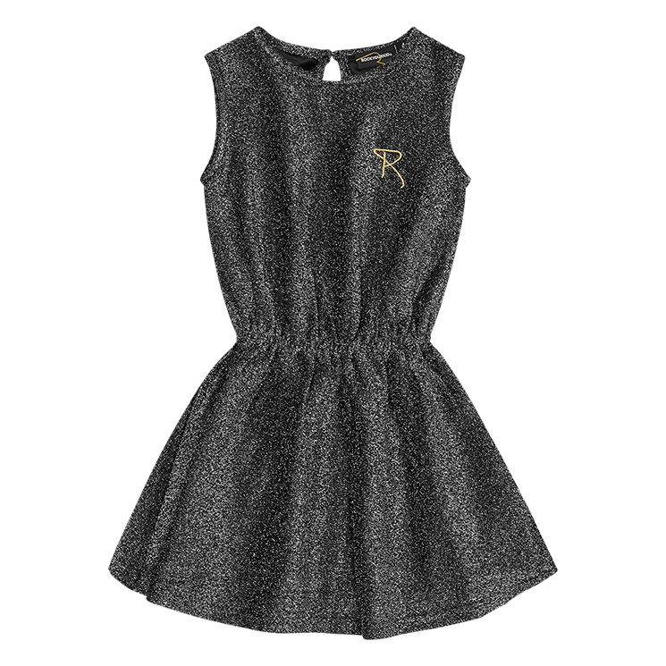 Rock Your Baby Silver/Black Disco Sleeveless Dress