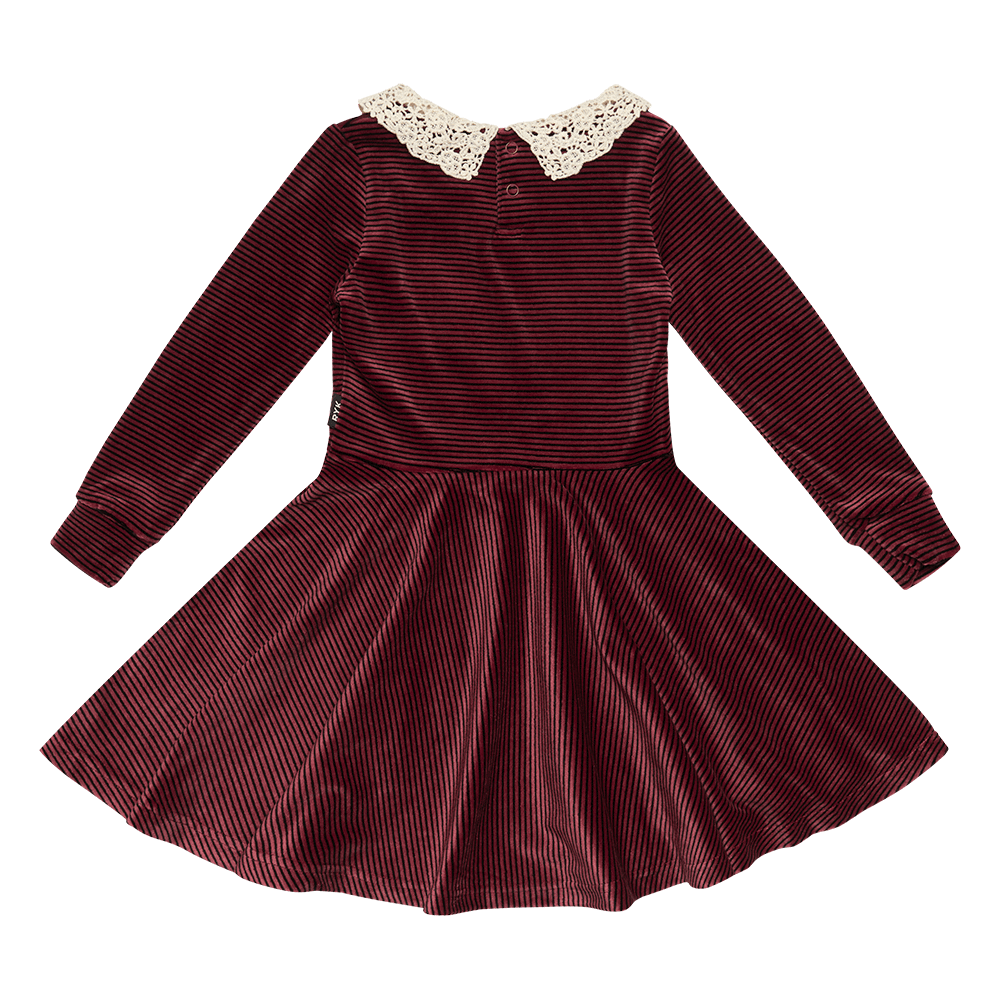 Rock Your Baby Velvet Stripe LS Waisted Dress