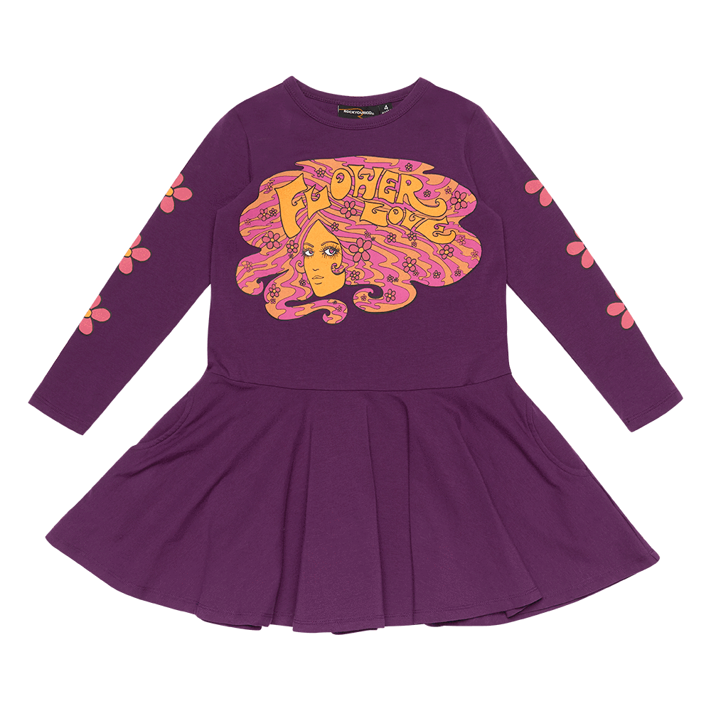 Rock Your Baby Flower Love LS Dress