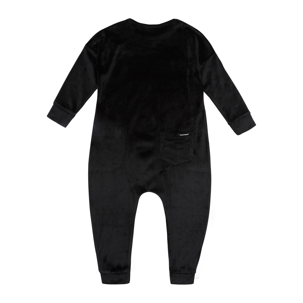Rock Your Baby Velvet LS Jumpsuit - Black