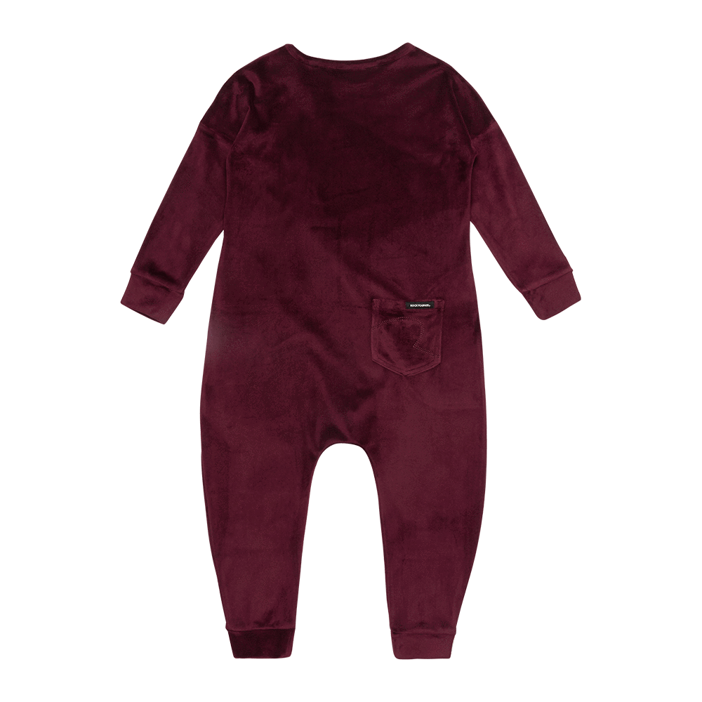 Rock Your Baby Velvet LS Jumpsuit - Plum