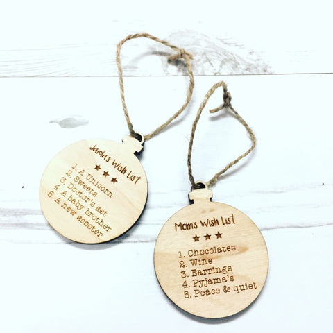 Personalised Wish List Wooden Bauble