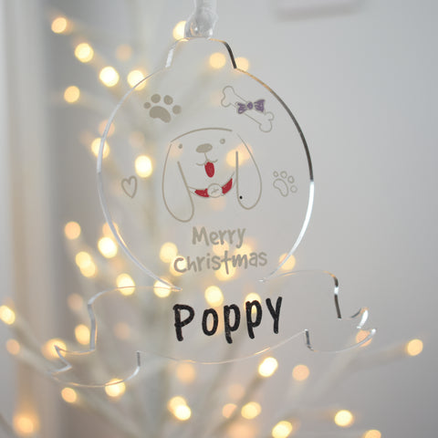 Acrylic Christmas Tree Bauble - Pet Dog