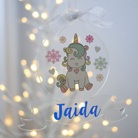 Acrylic Christmas Tree Bauble - Unicorn