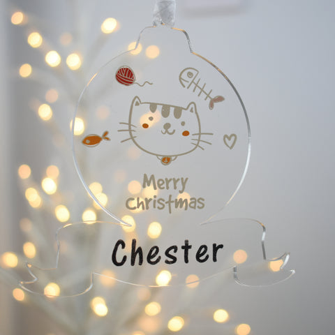 Acrylic Christmas Tree Bauble - Pet Cat