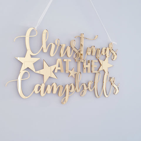 Personalised Christmas at the 'family name' Gold Hanging Plaque