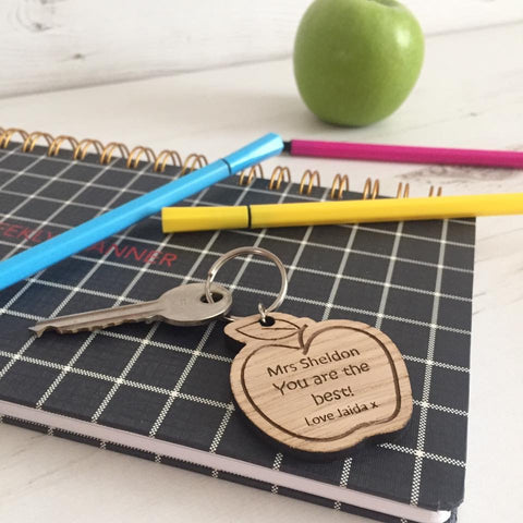 Teacher Apple Keyring - Wooden