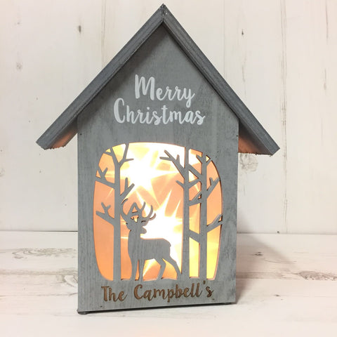 Merry Christmas Shabby Chic Illuminated House