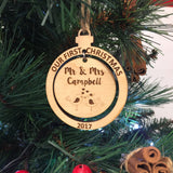 Our First Christmas Mr & Mrs Personalised Wooden Bauble