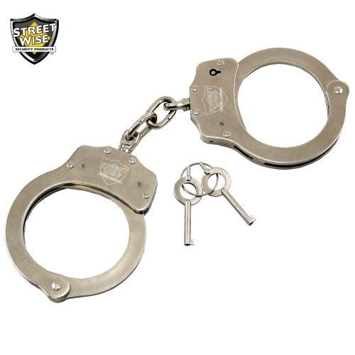 Handcuffs - Streetwise Nickel Plated Solid Steel Handcuffs