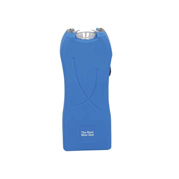 Runt Blue Stun Gun with a flashlight and wrist strap disable pin