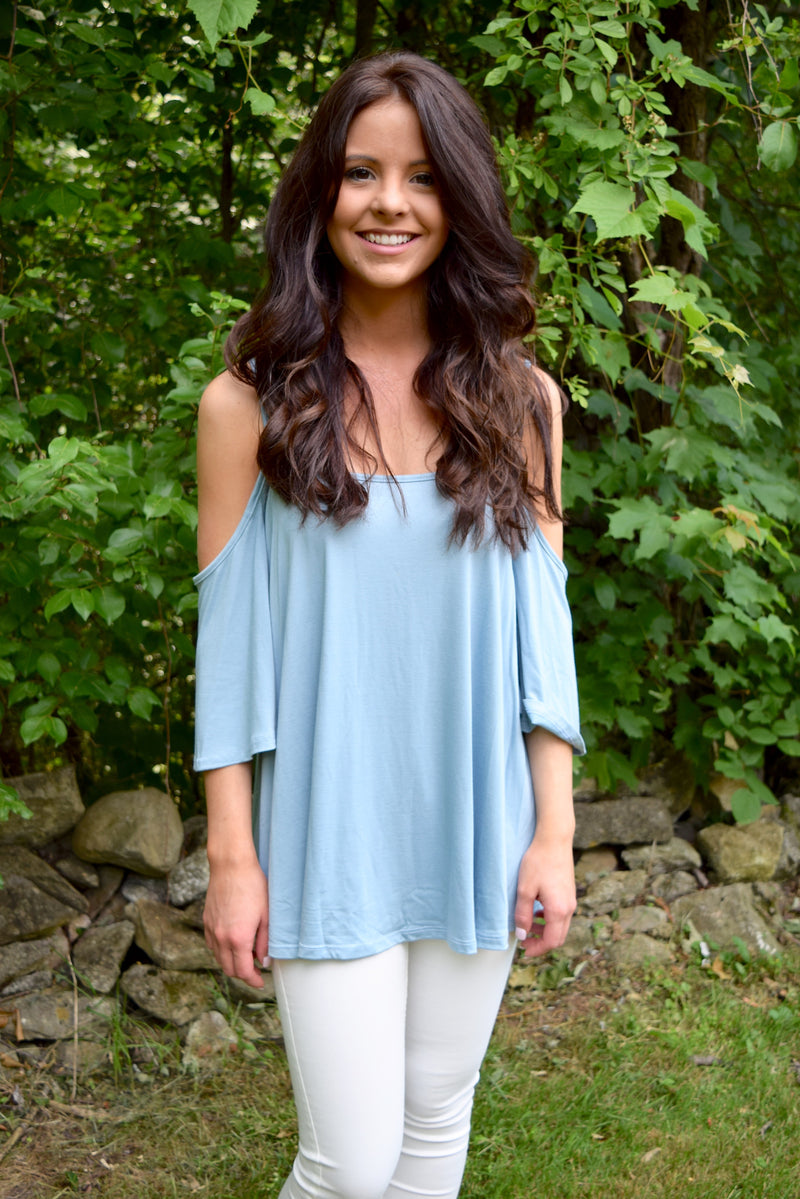 Ocean Blue Cold Shoulder Top - Mint Pop Shop