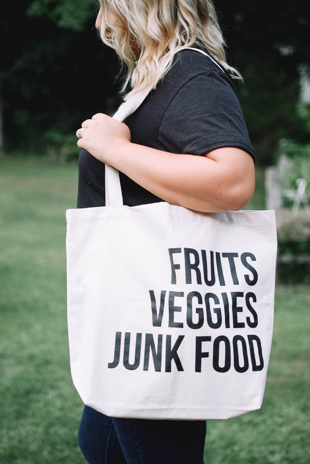'Fruits, Veggies, Junk Food' - Reusable Grocery Tote - Mint Pop Shop
