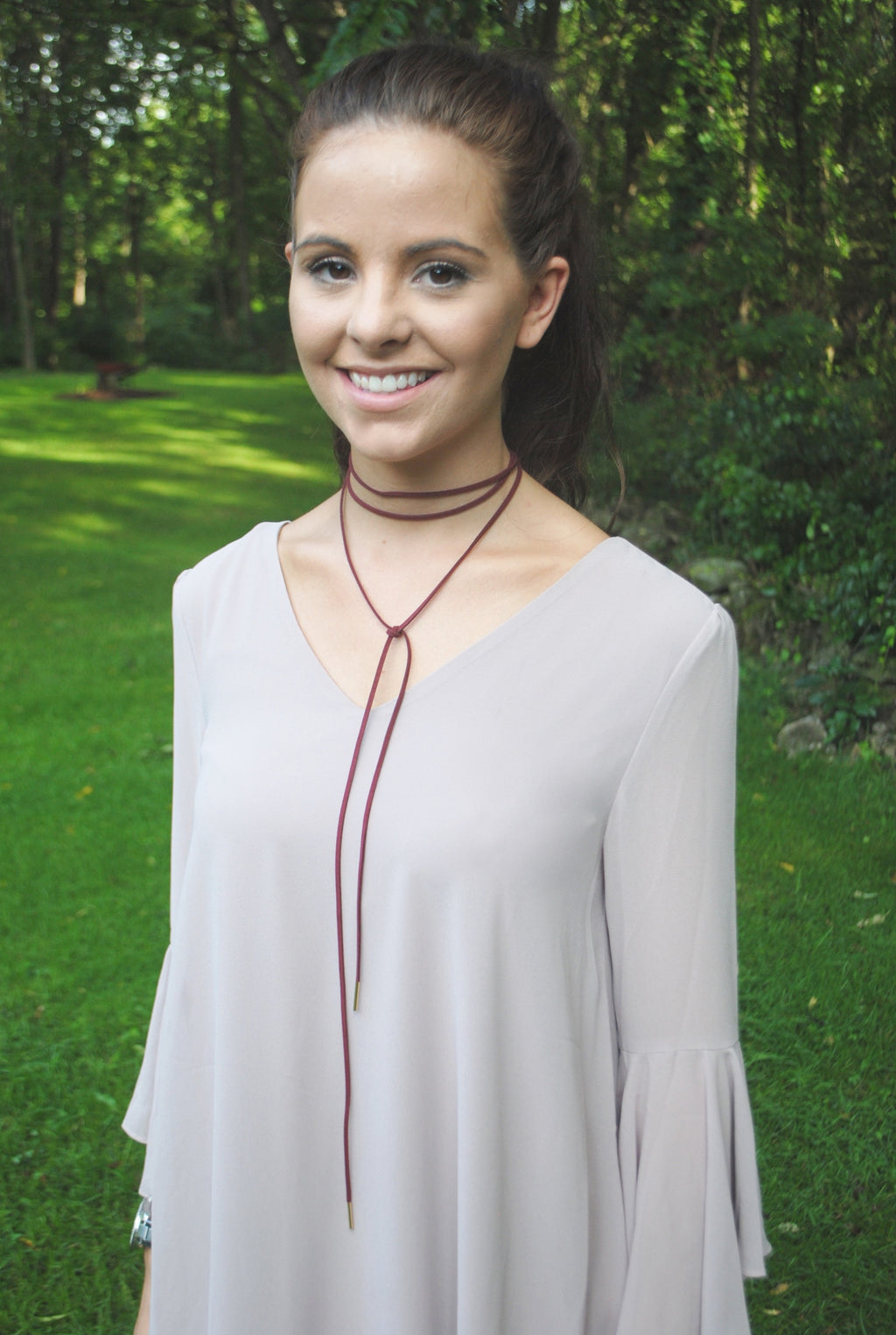Suede Wrap Choker - Burgundy - Mint Pop Shop