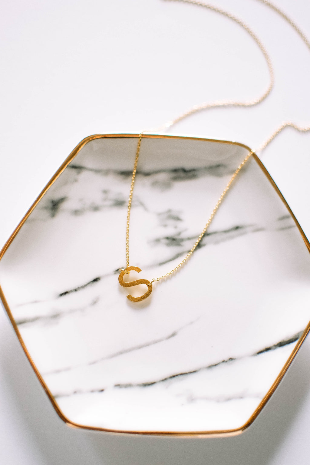 Gold Brushed Letter Necklace - S - Mint Pop Shop