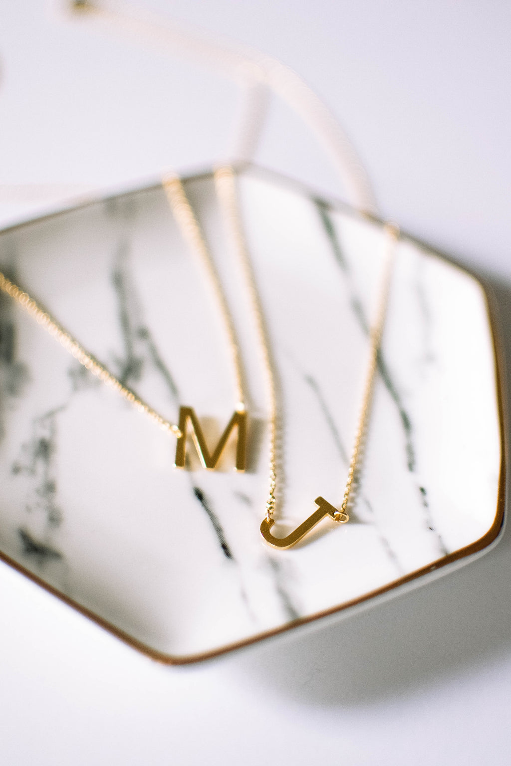 Gold Brushed Letter Necklace - J - Mint Pop Shop