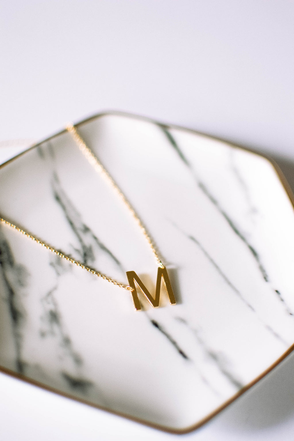 Gold Brushed Letter Necklace - M - Mint Pop Shop
