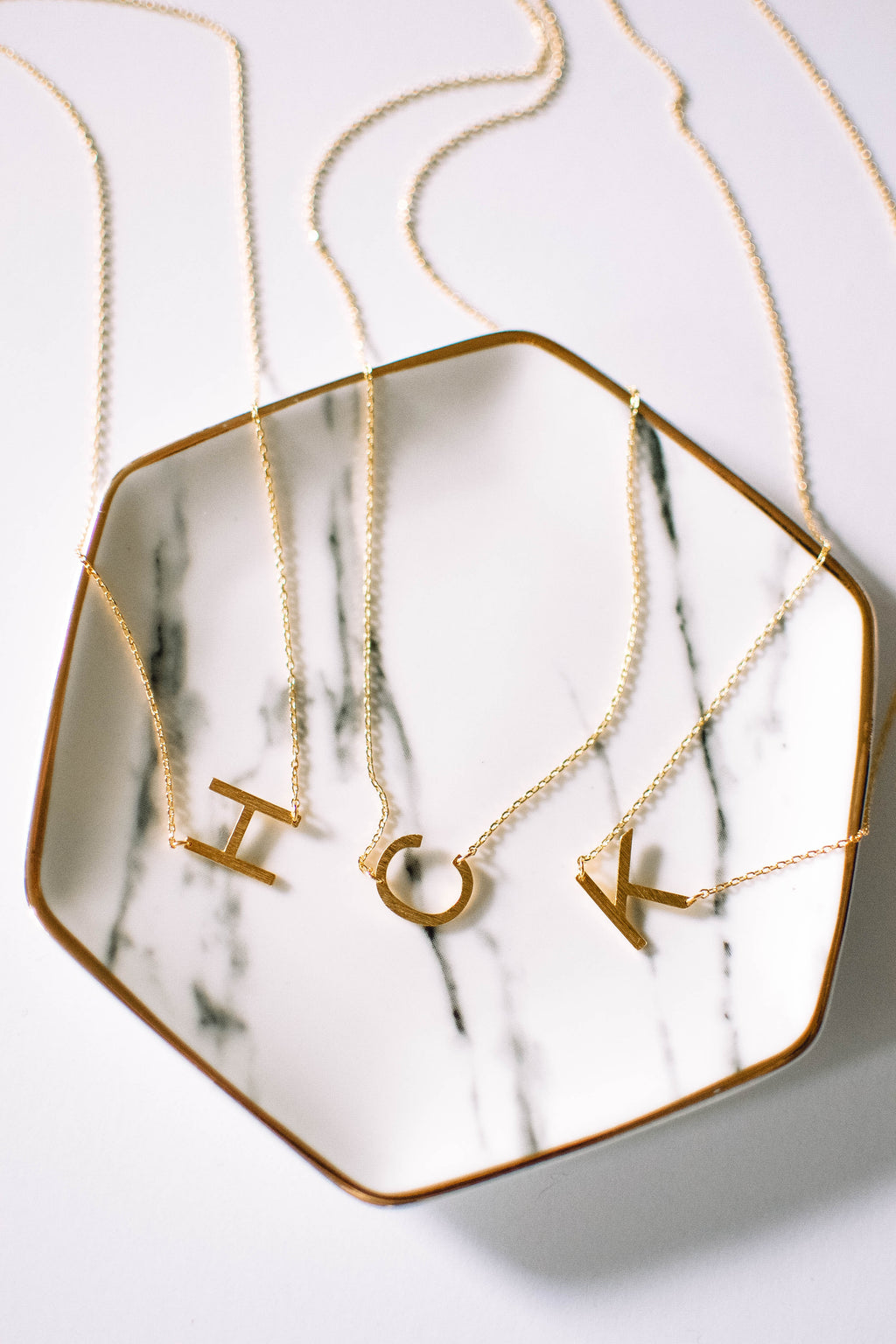 Gold Brushed Letter Necklace - K - Mint Pop Shop