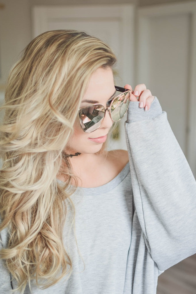 Mirrored Glam Sunglasses -Rose Gold/Gold