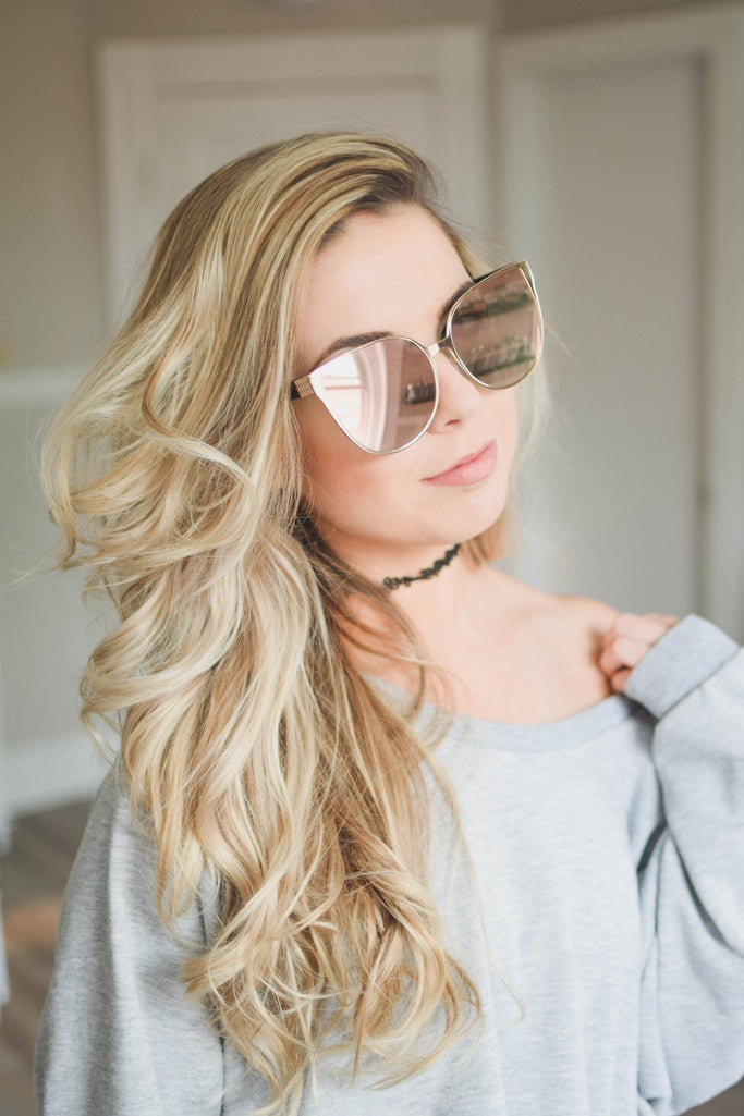 Mirrored Glam Sunglasses -Rose Gold/Gold - Mint Pop Shop