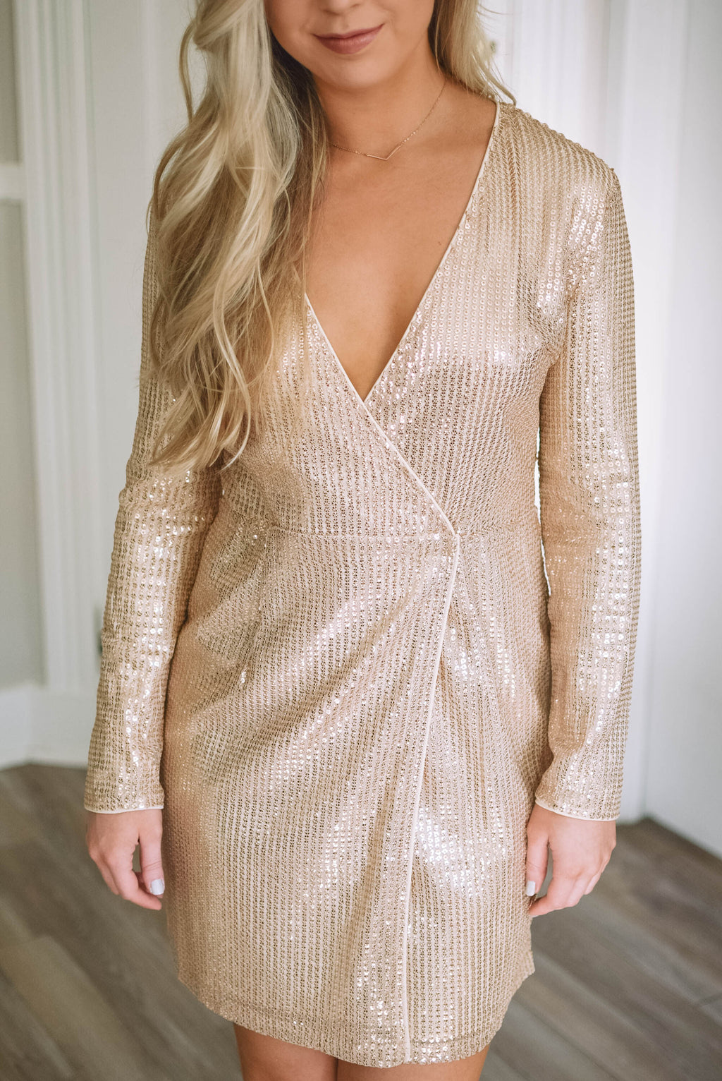 Gold Sequin Wrap Dress - Mint Pop Shop