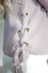 Side Tie Dusty Lavender Sweater - Mint Pop Shop