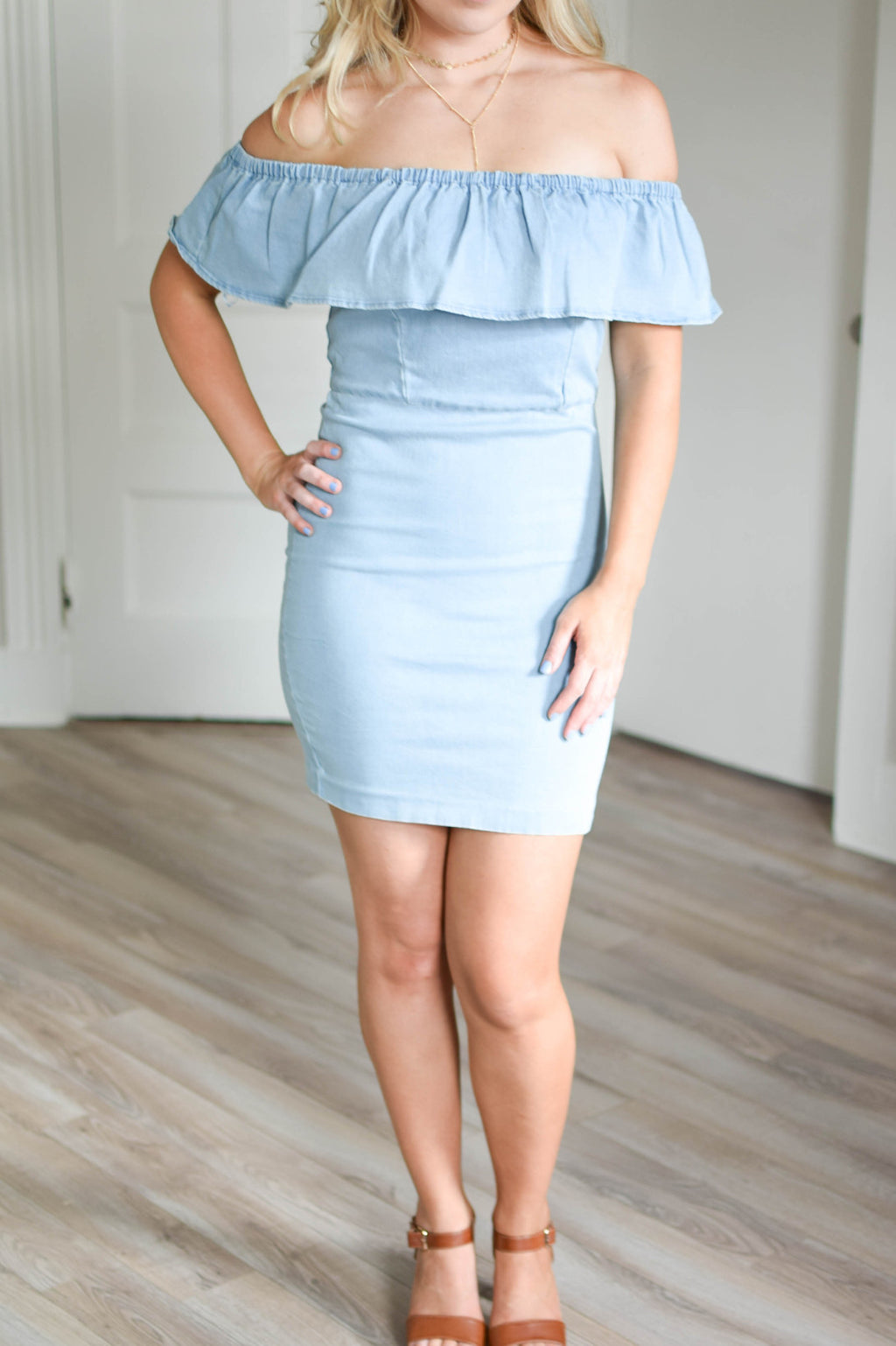 Denim Ruffle Dress - Mint Pop Shop