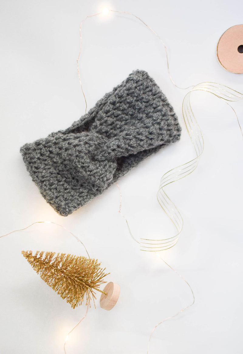 Crochet Headband - Dark Grey