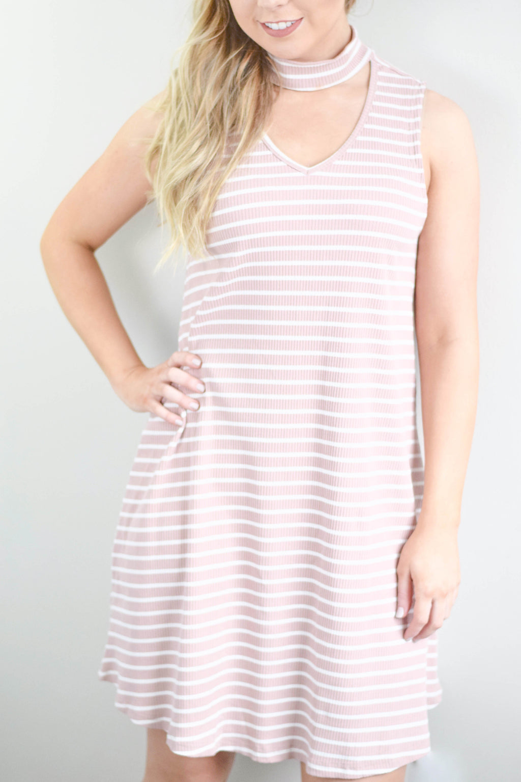 Rose Striped Dress - Mint Pop Shop