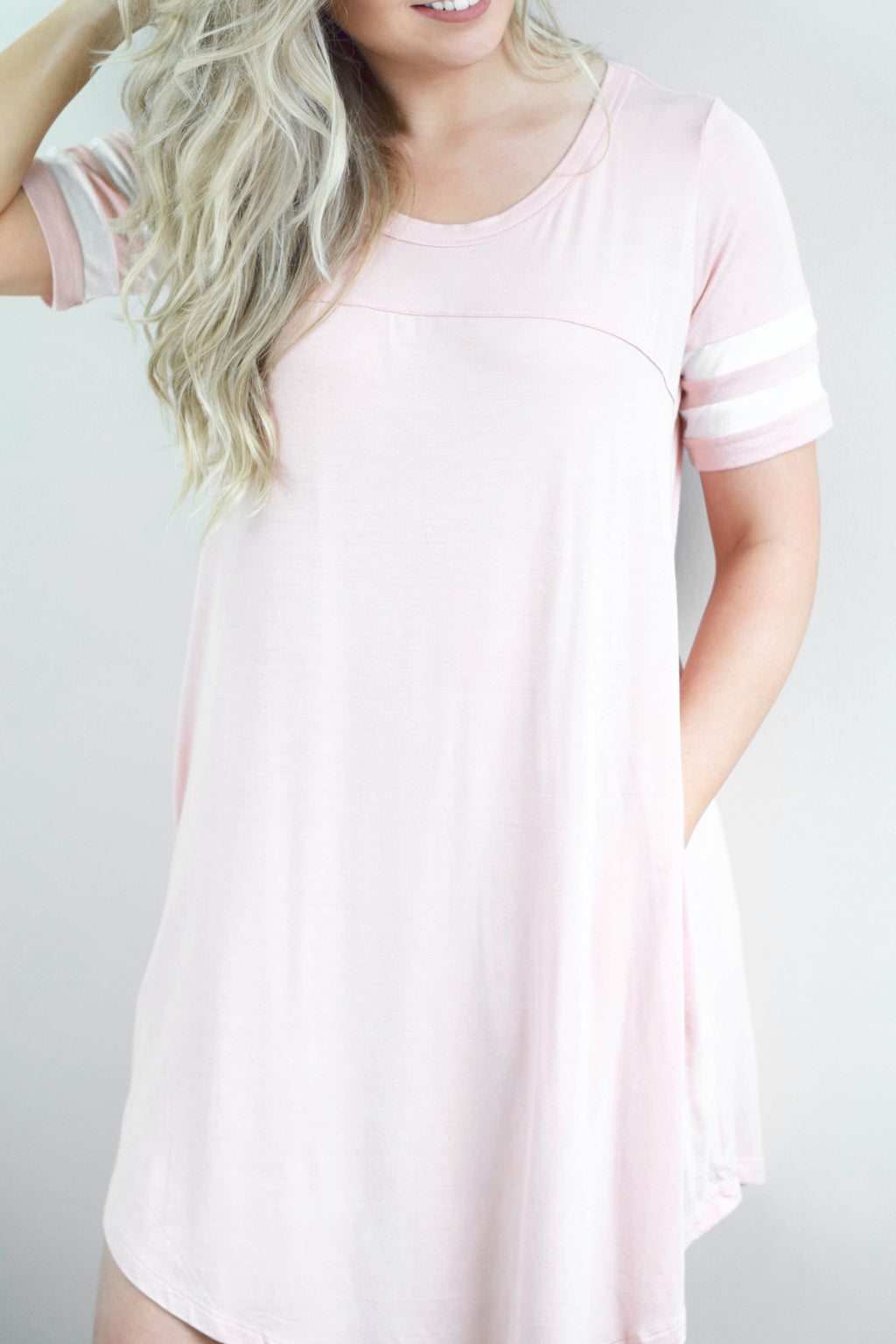 Varsity Peach Jersey Dress - Mint Pop Shop