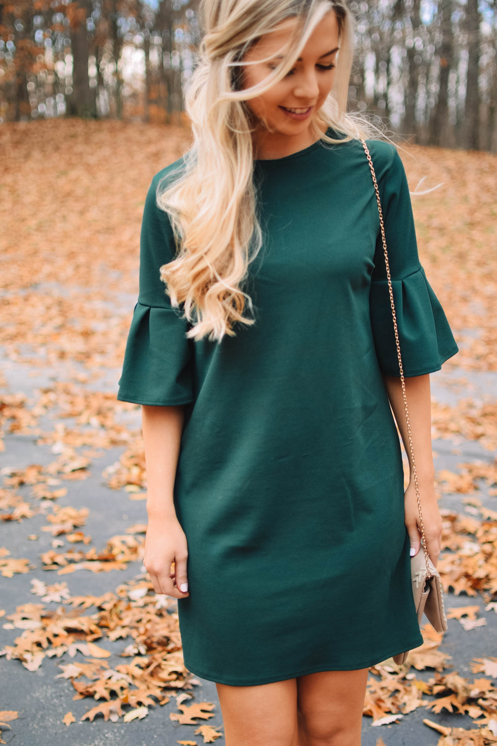 Evergreen Bell Sleeve Dress - Mint Pop Shop