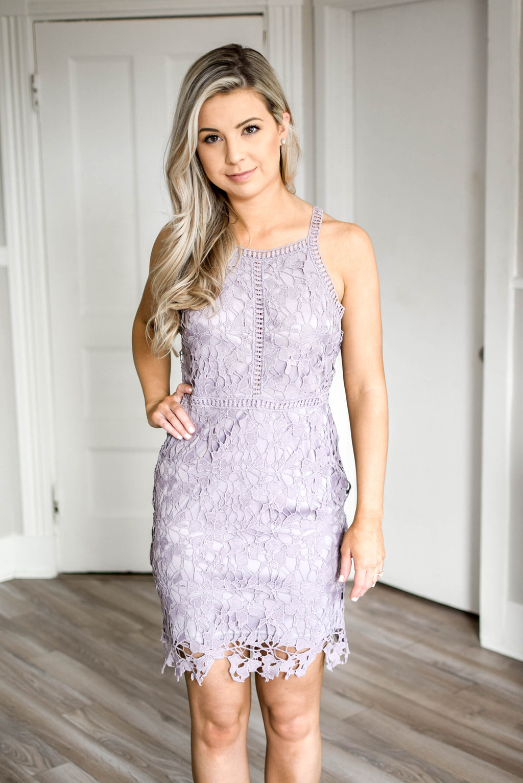 Lavender Lace Bodycon Dress