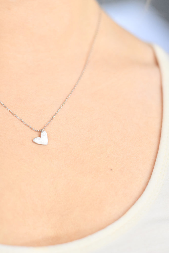 Silver Mini Heart Necklace - Mint Pop Shop
