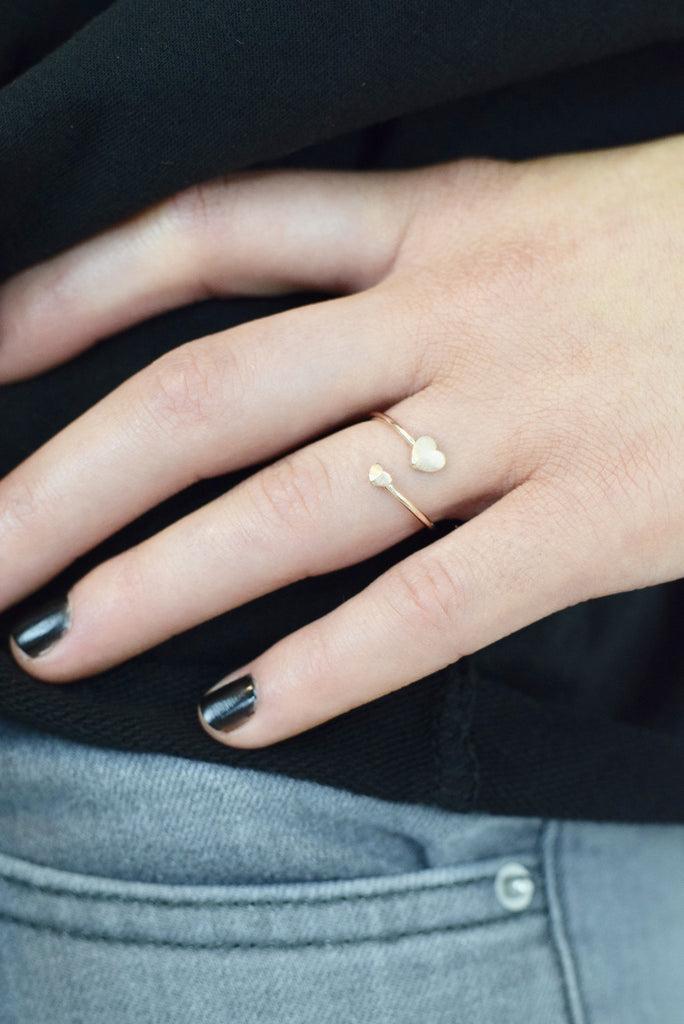 Double Heart Ring - Rose Gold