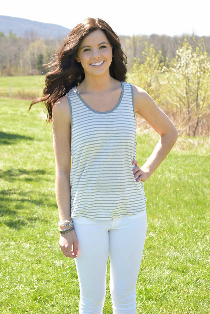 Cutout Geometric Striped Tank