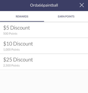Rewards program for Orda66paintball apparel