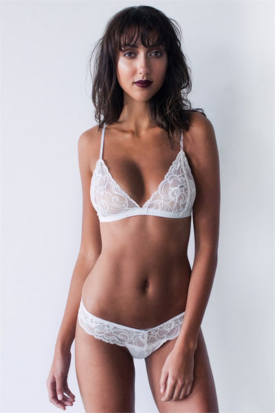 White lace bralette handmade in Australia with 100% silk French lace