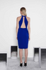 Rich blue high neck, knee length cocktail dress with a cut out back and split front.