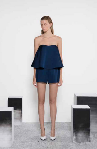 Sleeveless rich navy playsuit in a heavy silk material
