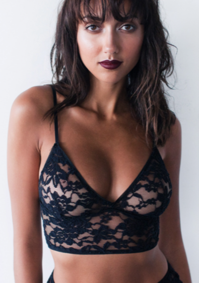 Crop top styled black lace bralette. Handmade in Australia
