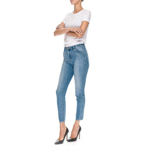 Midrise, super skinny cropped at the ankle stretch Japanese denim jeans.