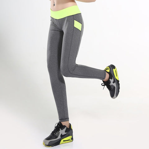 Womens Patchwork Elastic Yoga Pants