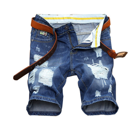 Mens Elastic Ripped Jeans Shorts