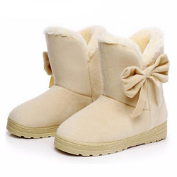 Solid Bowtie Slip-On Soft Cute Women Snow Boots - Multiple Colors - Dopy - 1