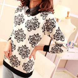 Women Casual Floral Slim Knitted Sweater