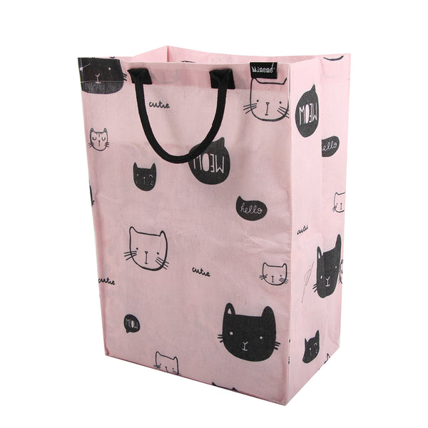 minene laundry bag - storage bag for bathroom, kids room, nurseries. Pink with black cat faces.
